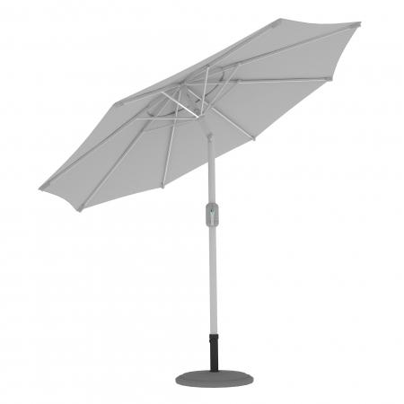 Parasol de terrasse droit orientable, forme ronde 3,5 m, Blanc