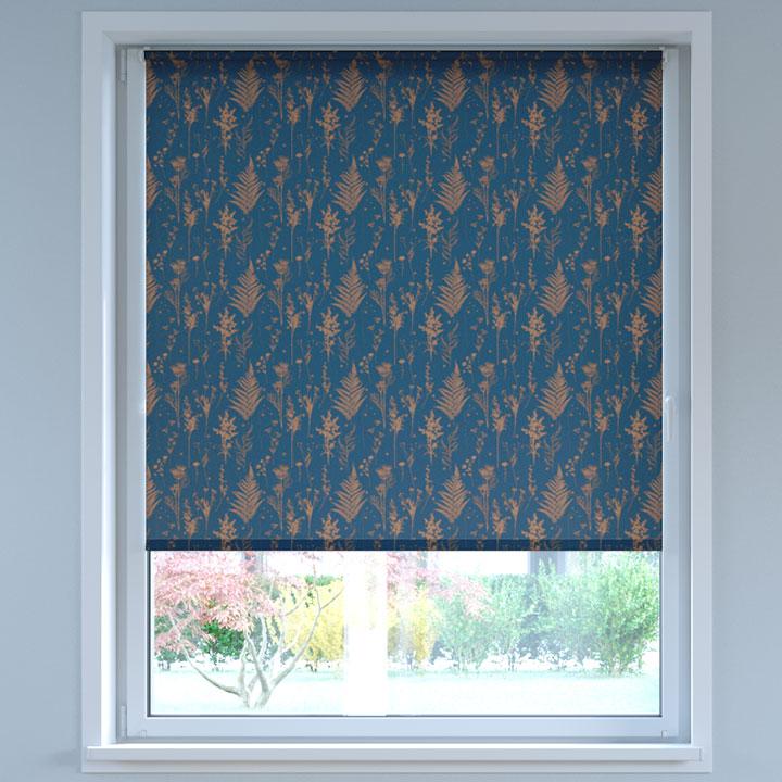 Store Enrouleur Sans Perçage Tamisant à motifs, Standard, Fleurs sauvages Bleu