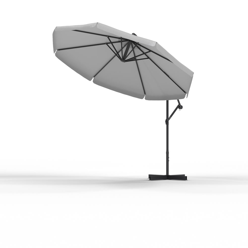 Parasol déporté rond 3 m, Gris