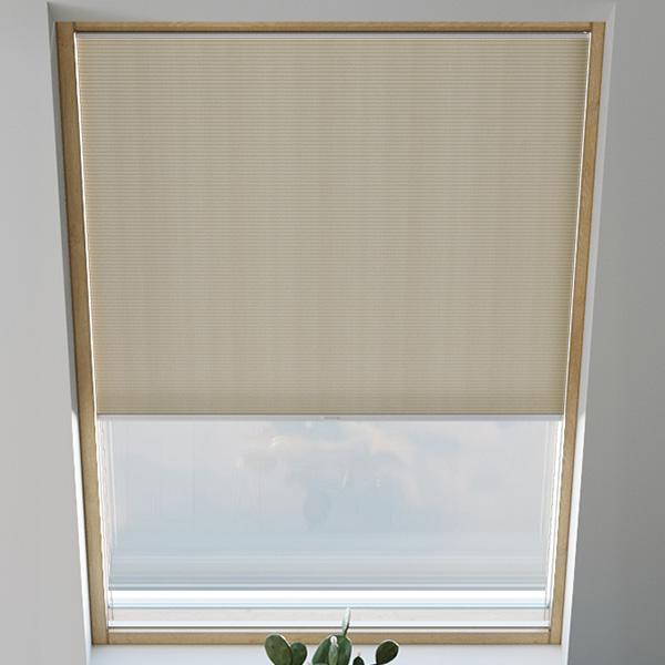 Store plissé pour fenêtre de toit, nid d'abeille, sur mesure, Piano Café au lait