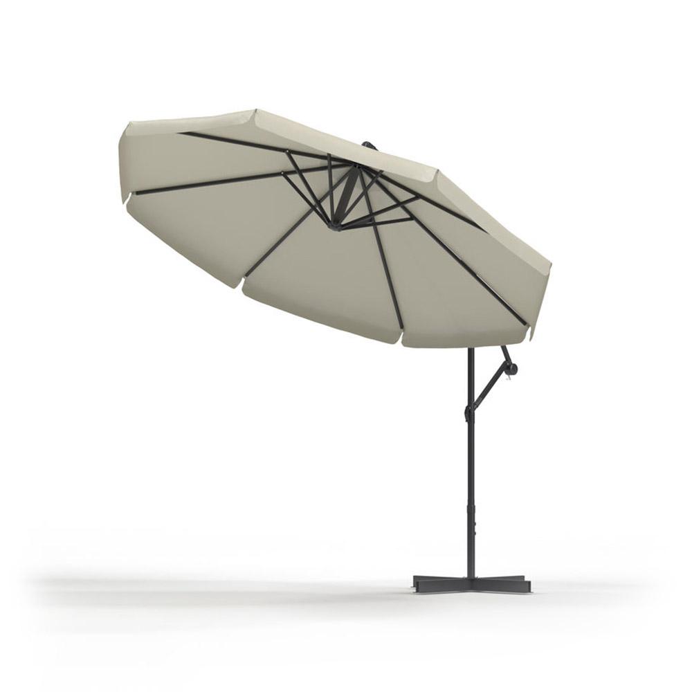 Parasol déporté rond 3 m, Écru
