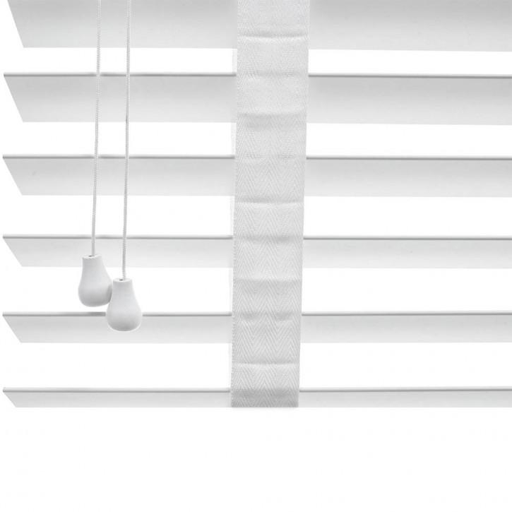 Store vénitien en bois, lames 50 mm, Blanc, Prêt-à-poser