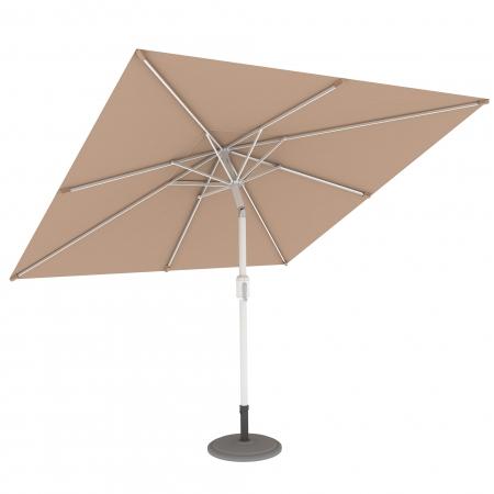 Parasol de terrasse droit orientable, forme carrée 3x3 m, Crème