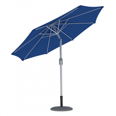 Parasol de terrasse droit orientable, forme ronde 3,5 m, Bleu