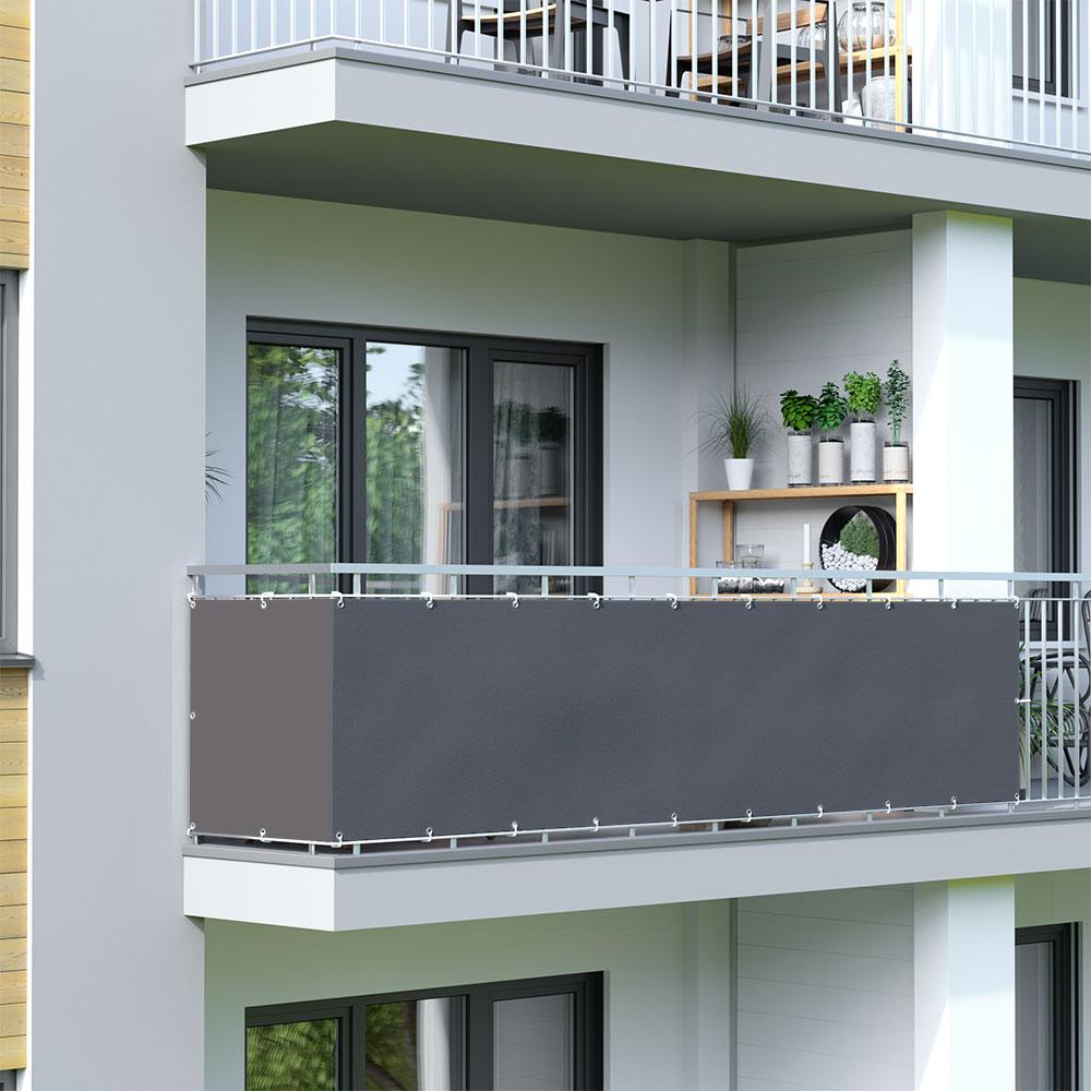 Brise-vue pour balcon Basic, tissu imperméable, Anthracite