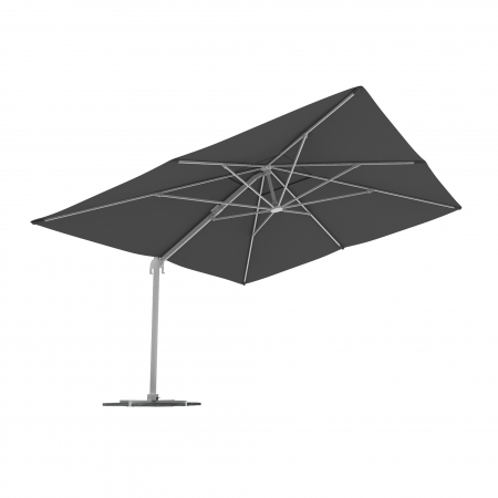 Parasol déporté rectangulaire, 4x3 m, Gris