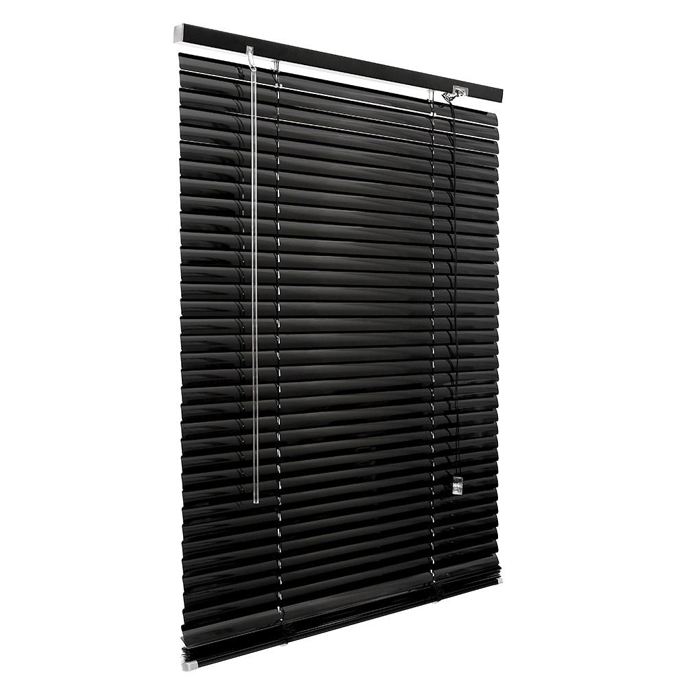 Store vénitien en aluminium Prêt-à-poser, lames de 25 mm, Noir
