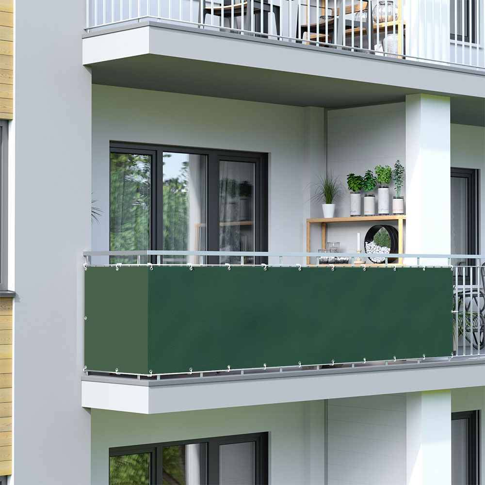 Brise-vue pour balcon Basic, tissu imperméable, Vert foncé