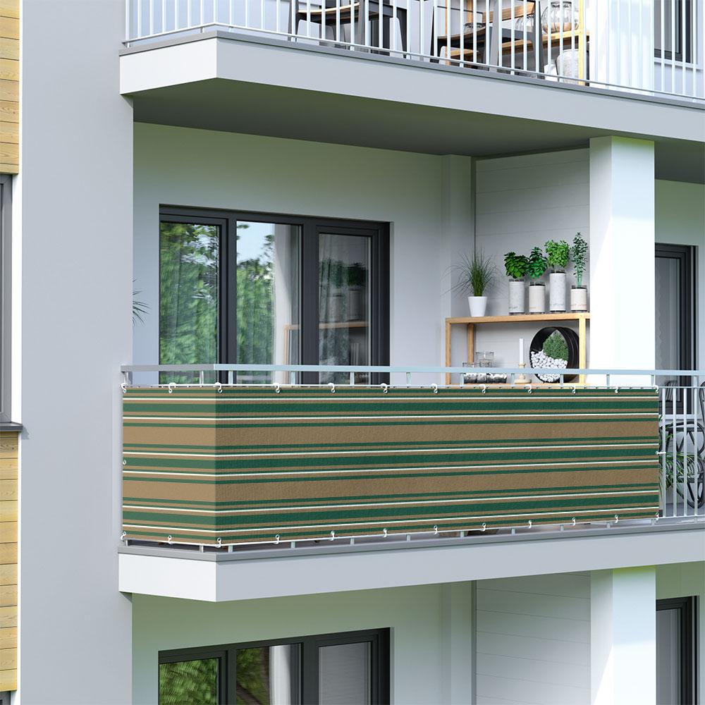 Brise-vue pour balcon Basic, tissu respirant, Vert-blanc-brun