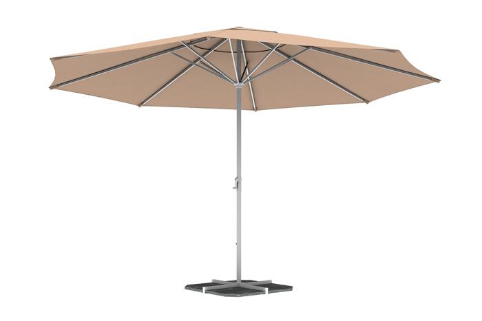 Parasol droit rond 5 m, Crème