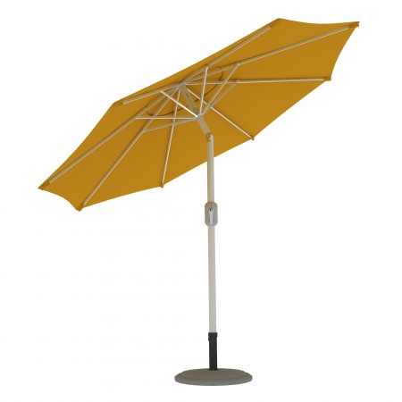 Parasol de terrasse droit orientable, forme ronde 3,5 m, Jaune