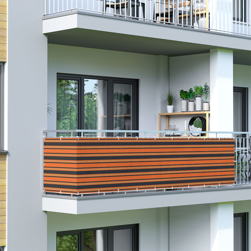 Brise-vue pour balcon Basic, tissu respirant, Orange-brun-noir