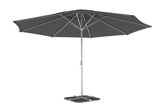 Parasol droit rond 5 m, Gris