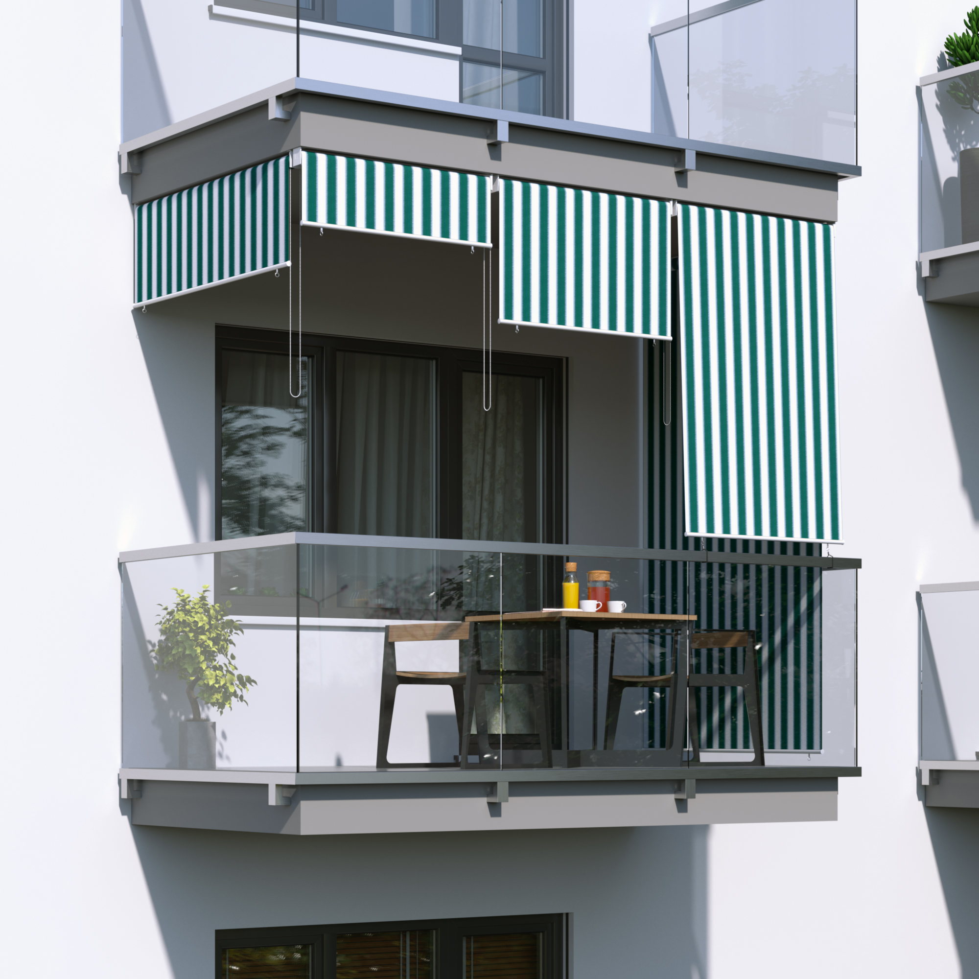 Store Extérieur Vertical, Vert-blanc