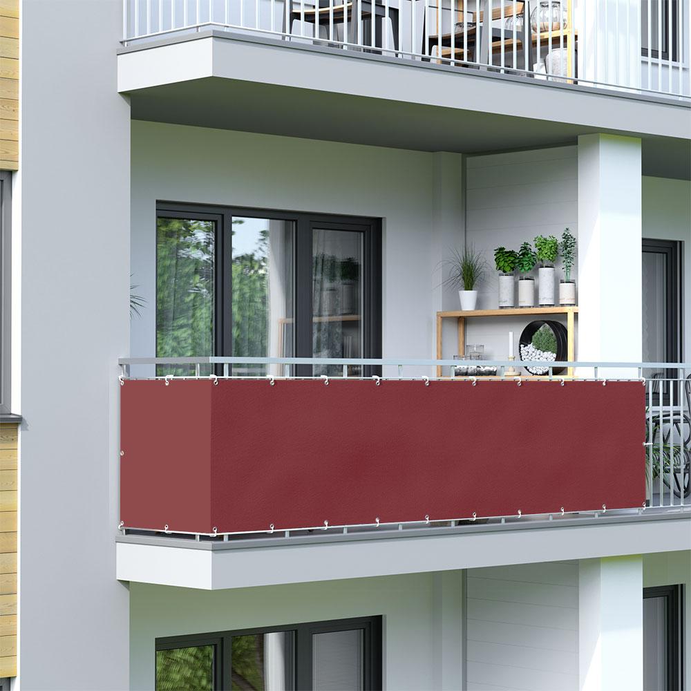 Brise-vue pour balcon Basic, tissu imperméable, Bordeaux
