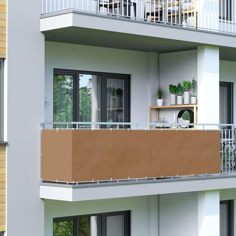 Brise-vue pour balcon Basic, tissu respirant, Brun