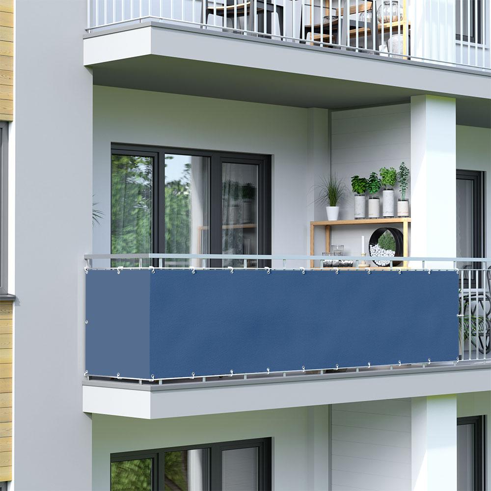 Brise-vue pour balcon Basic, tissu imperméable, Azurin