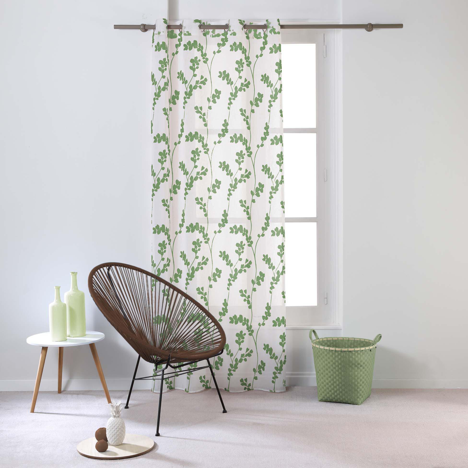 Voilage à oeillets motif feuille Tilia, Vert
