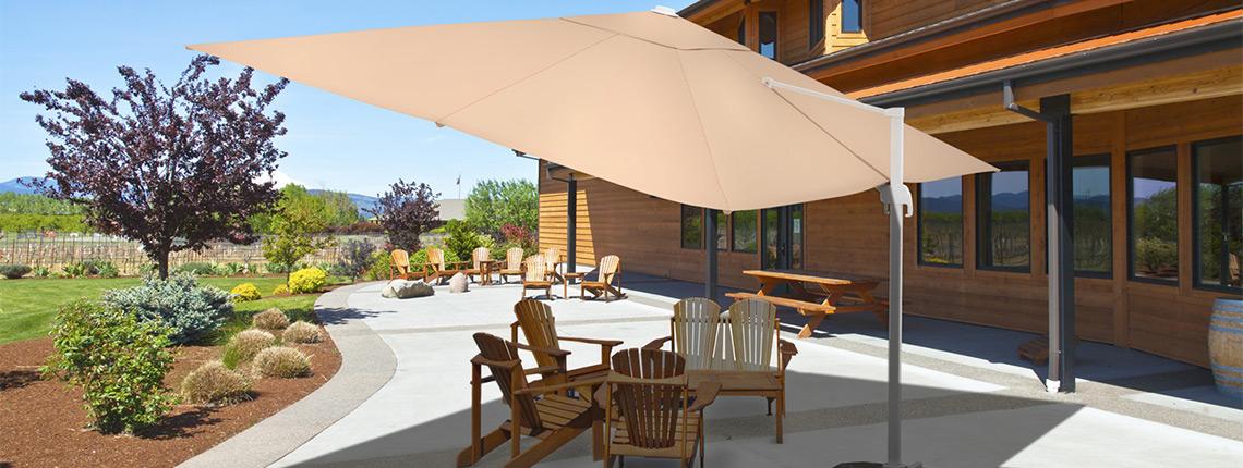 Parasol d port rectangulaire 4x3 m parasols jardin - Parasol deporte rectangulaire 4x3 ...