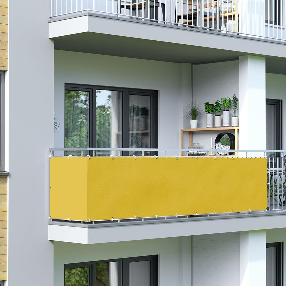 Brise-vue pour balcon Basic, tissu imperméable, Jaune