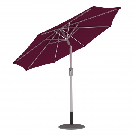 Parasol de terrasse droit orientable, forme ronde 3,5 m, Bordeaux