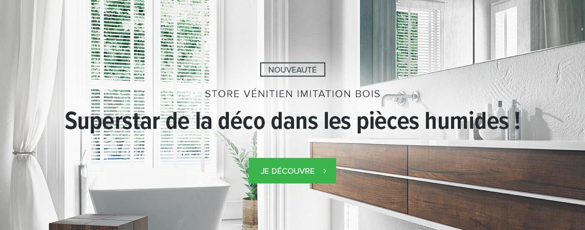 Store vénitien imitation bois et en bois naturel