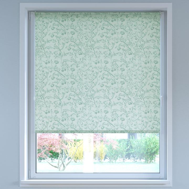 Store Enrouleur Sans Perçage Tamisant à motifs, Standard, Églantier Vert gris