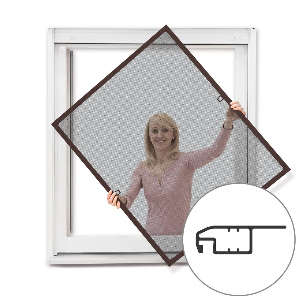 Moustiquaire cadre fixe pour fenêtre, prête-à-poser, Brun