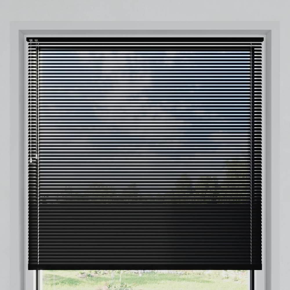 Store vénitien aluminium lames 25 mm, Noir mat