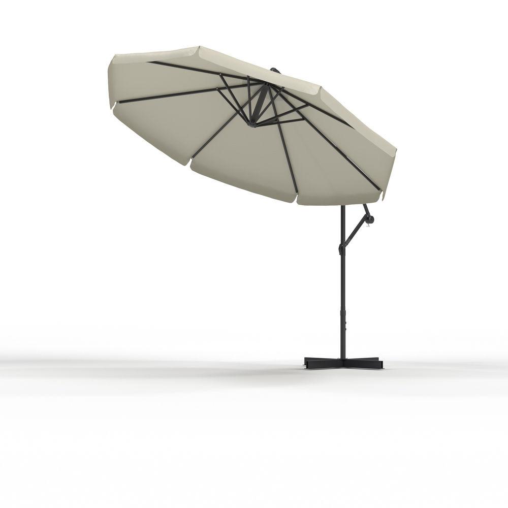 Parasol déporté rond 3 m, Beige