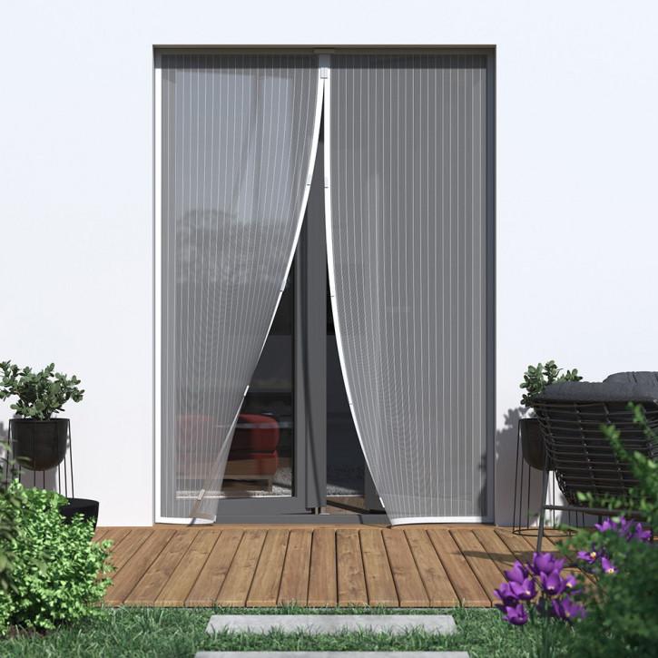 moustiquaire magnetique pour porte prete a poser blanc 110x220 cm
