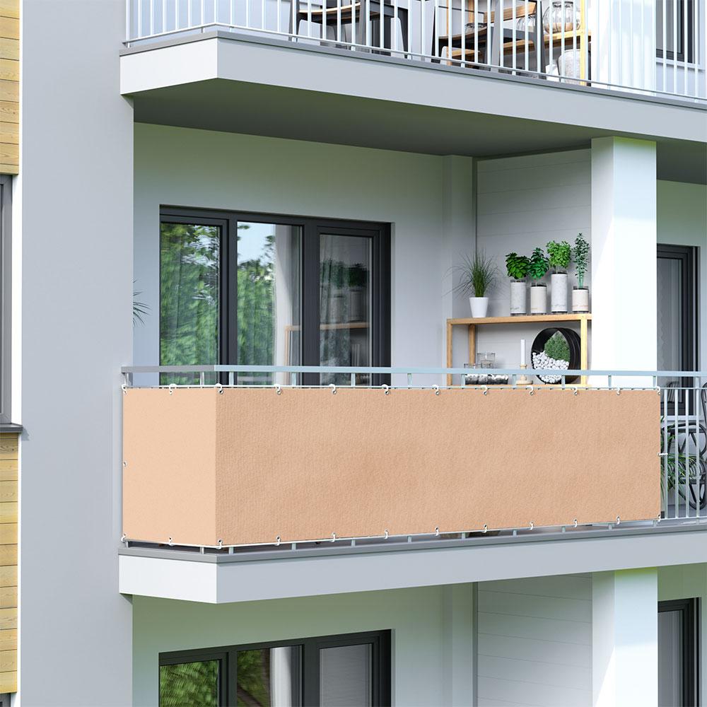 Brise-vue pour balcon Basic, tissu respirant, Ivoire