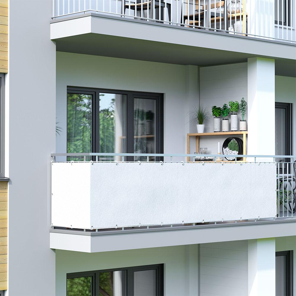Brise-vue pour balcon, tissu respirant, Blanc