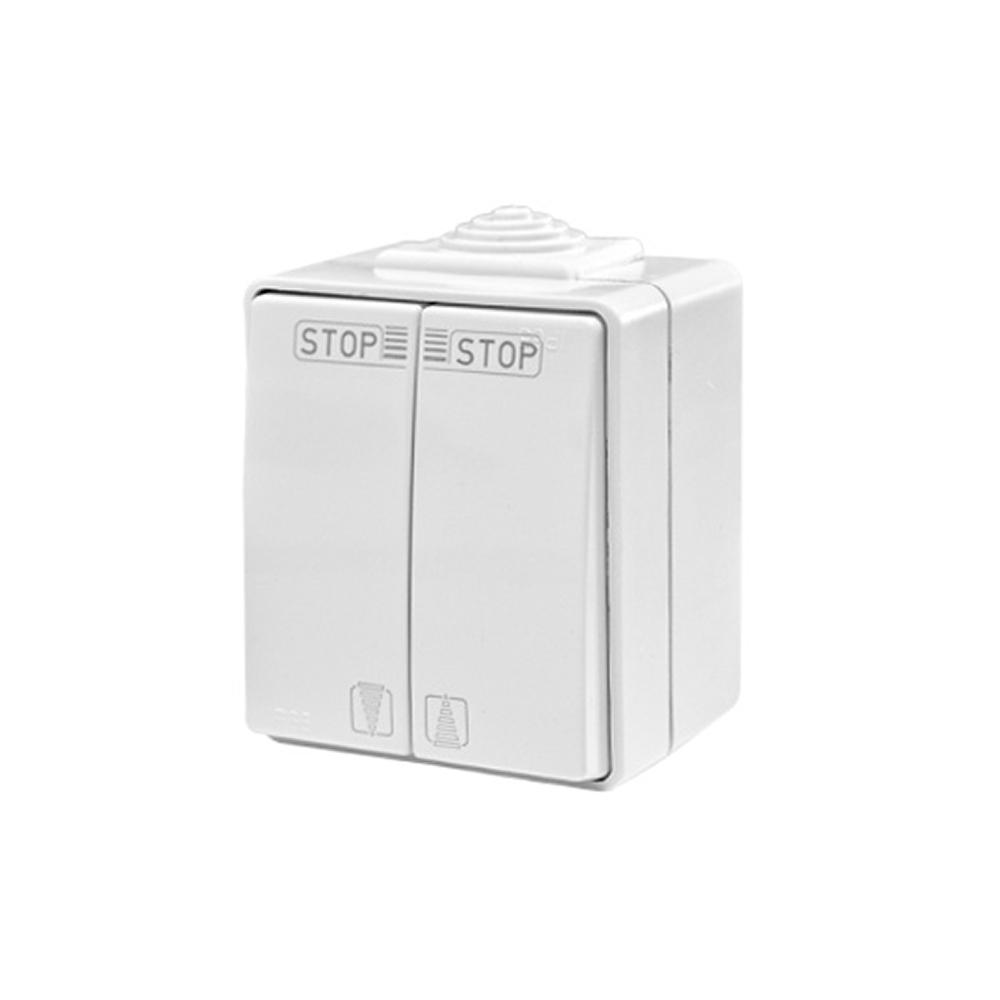 Interrupteur à deux boutons poussoirs pour les pièces humides IP65