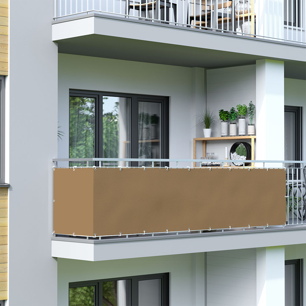 Brise-vue pour balcon Basic, tissu imperméable, Brun