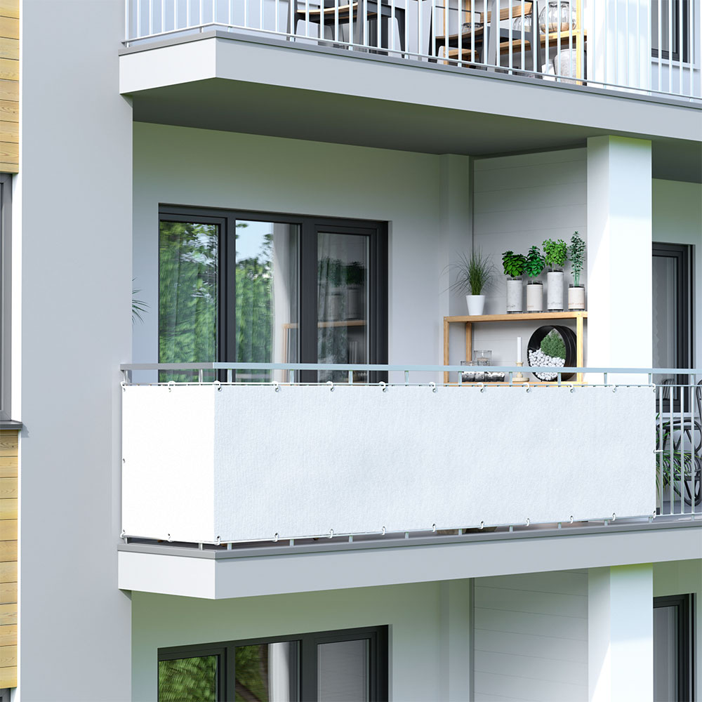 Brise-vue pour balcon Basic, tissu respirant, Blanc