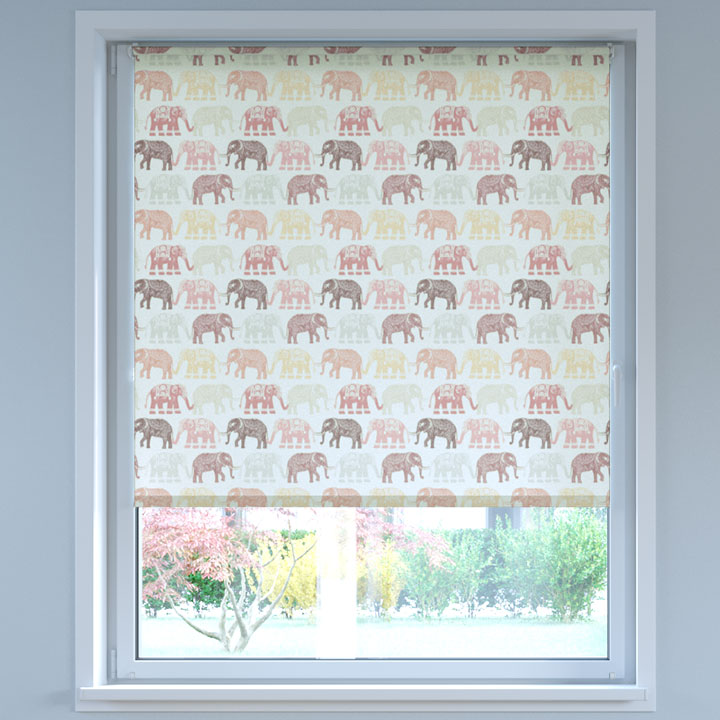 Store Enrouleur Sans Perçage Tamisant à motifs, Standard Éléphants Rouge