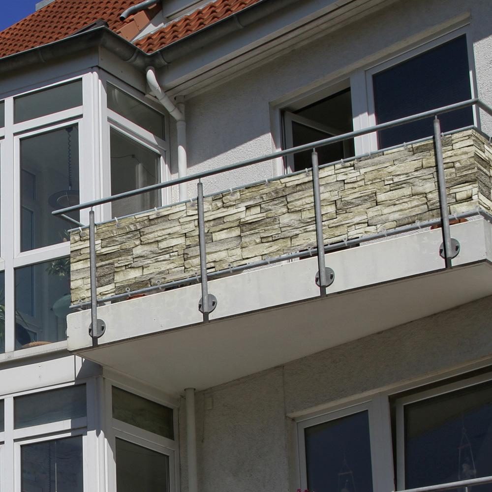 Brise-vue pour balcon Basic, tissu imperméable, Motif de pierre