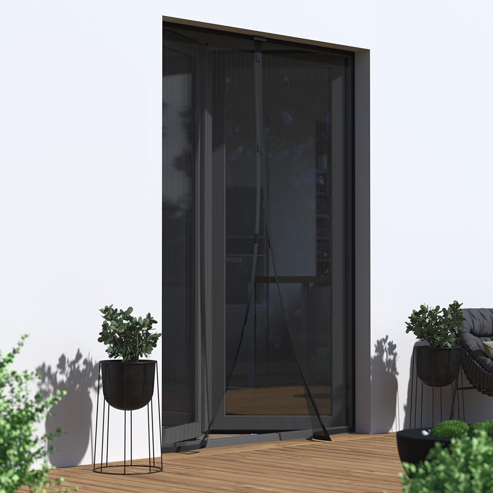 Moustiquaire magnétique pour porte, prête-à-poser, Noir