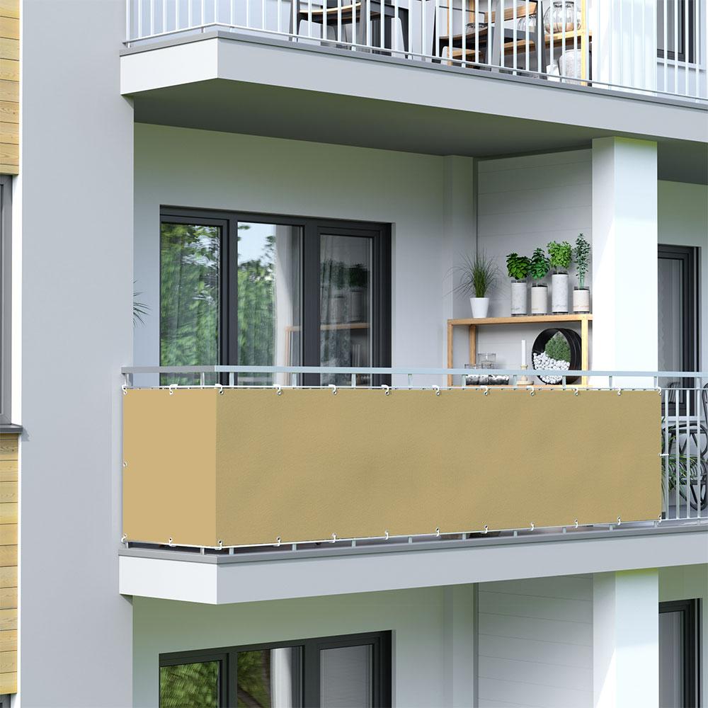 Brise-vue pour balcon Basic, tissu imperméable, Sable