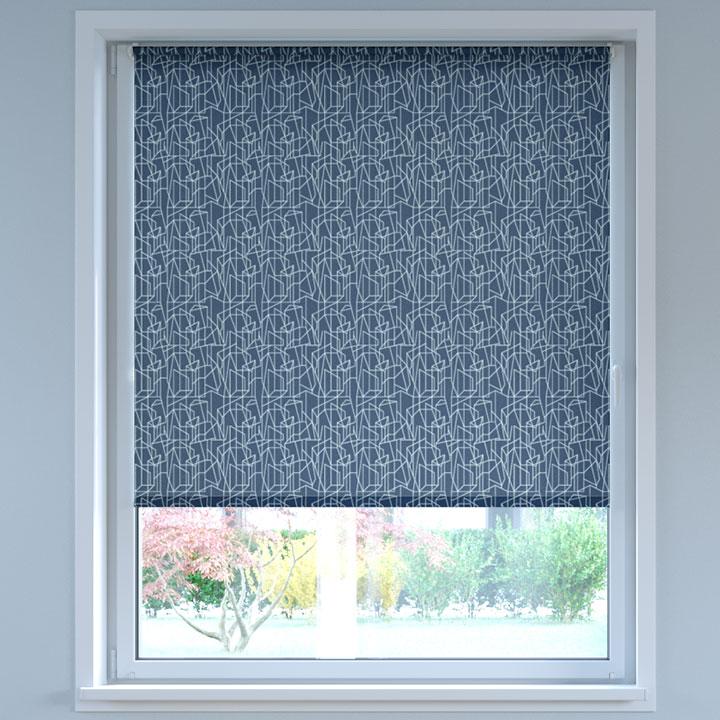 Store Enrouleur Sans Perçage Tamisant à motifs, Standard, Zigzag Bleu marine