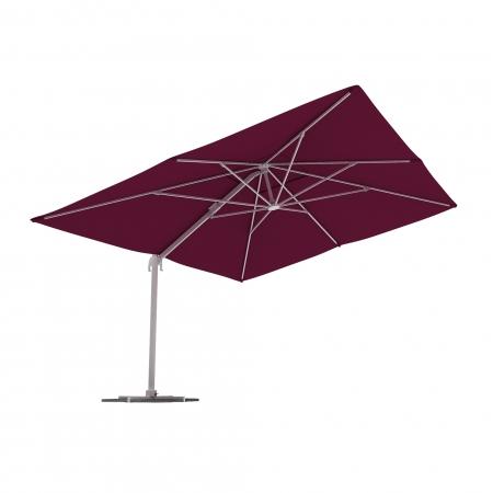 Parasol déporté rectangulaire, 4x3 m, Bordeaux