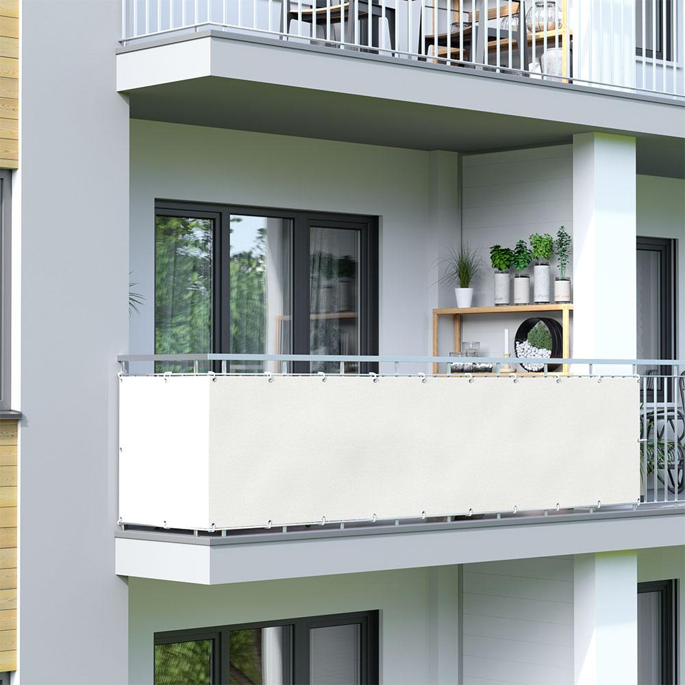 Brise-vue pour balcon Basic, tissu imperméable, Crème