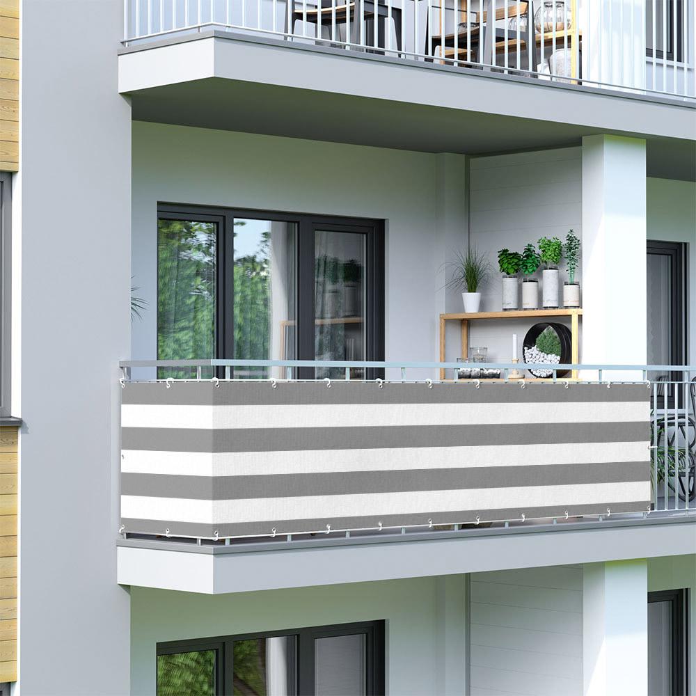 Brise-vue pour balcon Basic, tissu respirant, Gris-blanc