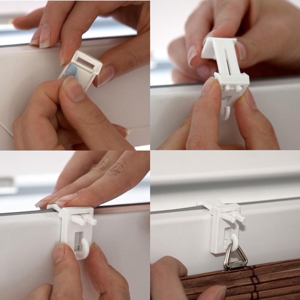 Clips Easyfit pour les stores en bambou, blancs, 2 pièces